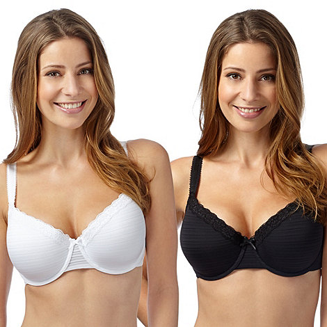 Gorgeous DD+ - Pack of two black and white striped t-shirt bras