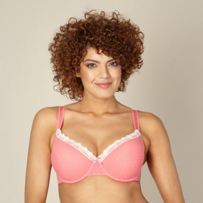 Pale pink spotted mesh D-G cup t-shirt bra