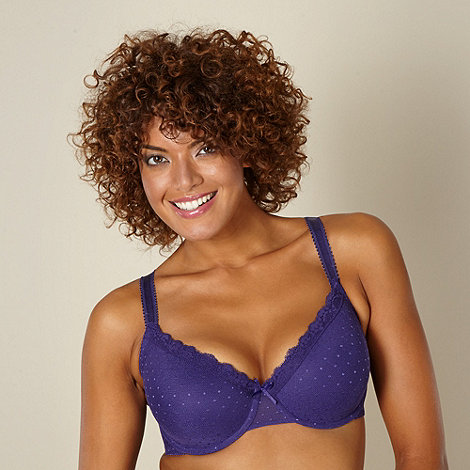 Gorgeous DD+ - Dark purple spotted mesh D-G cup t-shirt bra