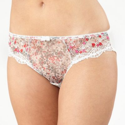 White floral print and embroidery briefs