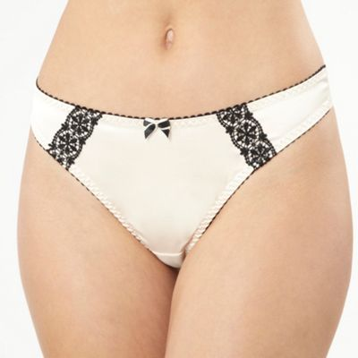 Ivory lace trim satin thong
