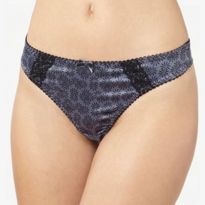 Dark grey floral print satin thong