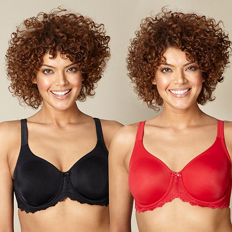 Gorgeous DD+ - Pack of two black and red D-H cup t-shirt bra