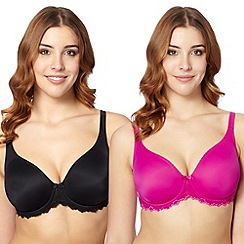 Gorgeous DD+ - Black and dark pink 2 pack t-shirt bra