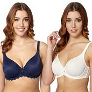 Pack of two dark blue and cream D-H non-padded t-shirt bras
