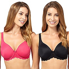 Debenhams - Pack of two black and pink lace trim D-H cup t-shirt bra
