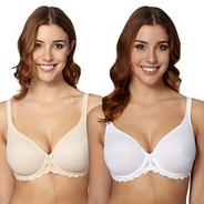 Pack of two natural and white D-H non-padded t-shirt bra