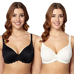 Gorgeous DD+ - Pack of two black and white D-H non-padded t-shirt bras