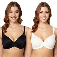 Pack of two black and white D-H non-padded t-shirt bras