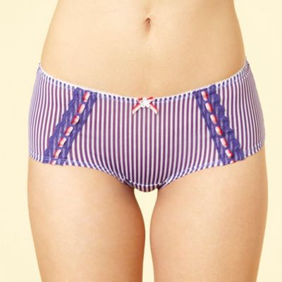Purple striped mesh shorts