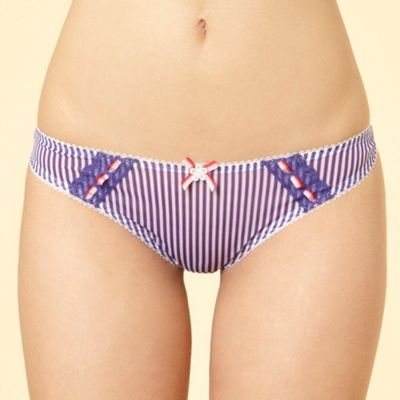 Purple striped mesh thong