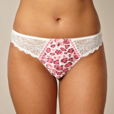 Dark pink animal lace thong