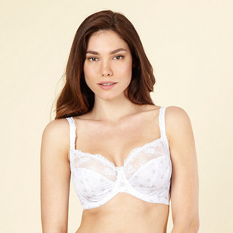 Gorgeous DD+ - White embroidered lace full cup bra