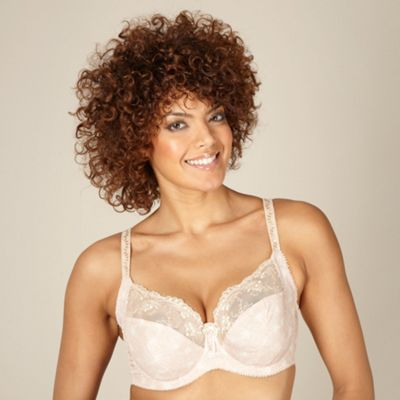 Natural non padded embroidered DD-J bra