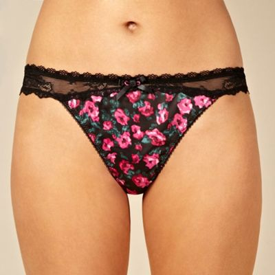 Black rose printed thong
