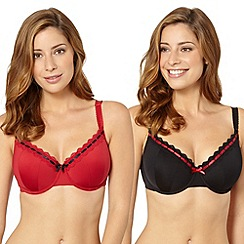 Gorgeous DD+ - Pack of two black and red cup t-shirt bras