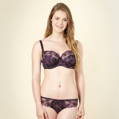 Purple floral non-padded D-J full cup bra