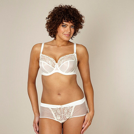 Gorgeous DD+ - Ivory metallic rose lace DD-J full cup bra