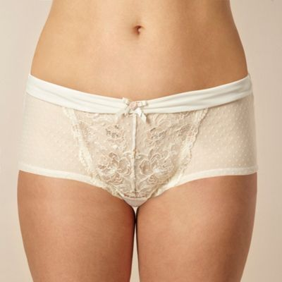 Ivory metallic rose lace shorts
