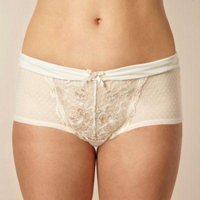 Ivory metallic rose lace shorts