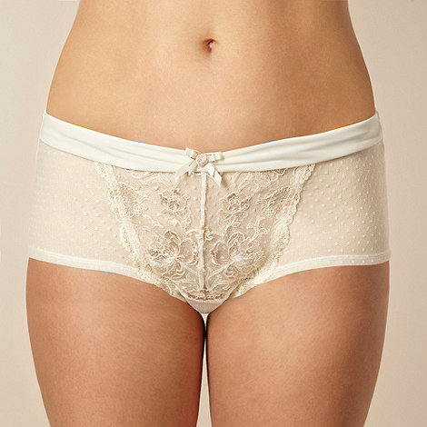 Gorgeous DD+ - Ivory metallic rose lace shorts