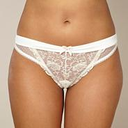 Ivory metallic rose lace thong