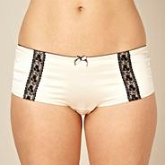 Ivory lace trimmed satin shorts