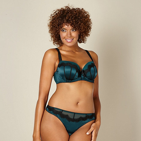 Gorgeous DD+ - Dark green eyelash trimmed D-G balcony bra