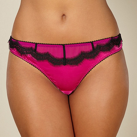 Gorgeous DD+ - Dark pink eyelash trimmed thong