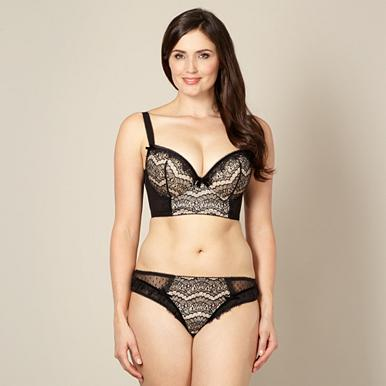 Black lace longline bra