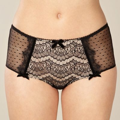 Black lace front shorts