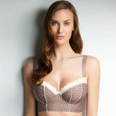 Taupe Carys padded longline bra