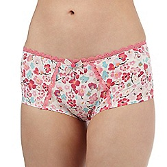 Gorgeous DD+ - Bright pink poppy print shorts
