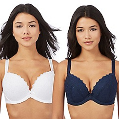 Gorgeous DD+ - Pack of two navy and white lace padded t-shirt bras