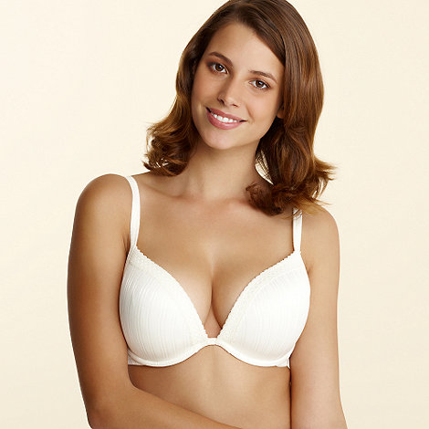 Gorgeous DD+ - Ivory striped plunge bra