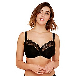 Gorgeous DD+ - Black lace underwired non-padded full cup balcony bra
