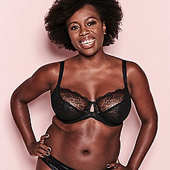 Freya - Black lace 'Fancies' underwired non-padded DD+ plunge bra