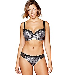 Gorgeous DD+ - Grey floral jacquard underwired padded balcony bra