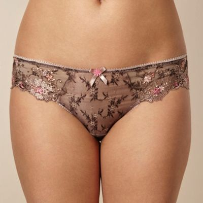 Brown floral lace briefs