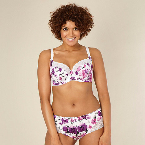 Gorgeous DD+ - Purple floral non-padded DD-H bra