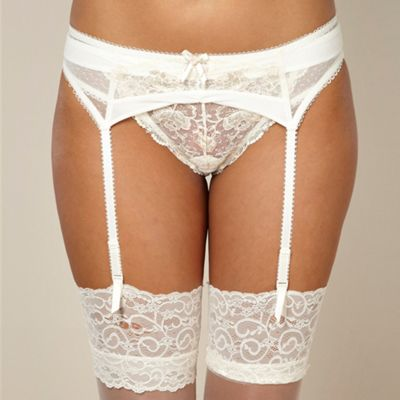 Ivory metallic rose lace suspender belt