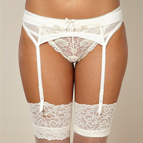 Gorgeous DD+ - Ivory metallic rose lace suspender belt