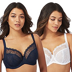 Gorgeous DD+ - 2 pack white and navy floral embroidered 'Emily' underwired non padded D-H full cup t-shirt bras