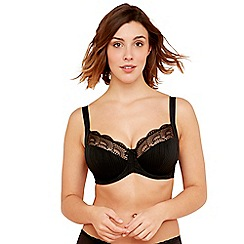 Gorgeous DD+ - Black 'Bianca' underwired non-padded full cup balcony bra