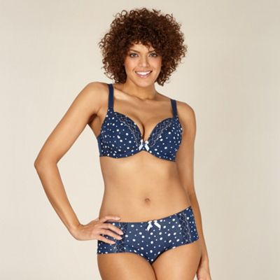 Navy spotted D-H plunge bra