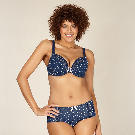 Gorgeous DD+ - Navy spotted D-H plunge bra
