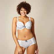 Blue floral D-H cup padded plunge bra