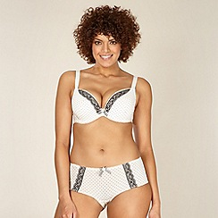 Gorgeous DD+ - Cream D-H cup spotted padded plunge bra