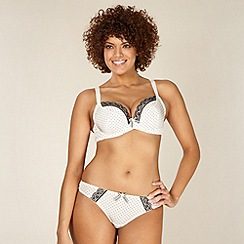 Gorgeous DD+ - Cream D-H cup spotted non padded plunge bra