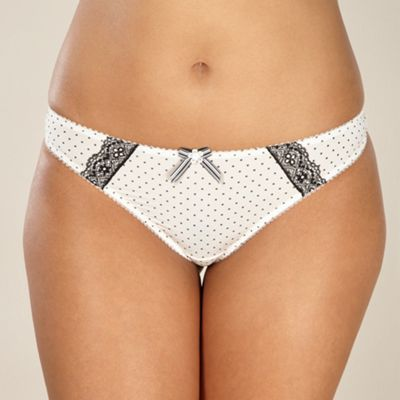 Cream spotted microfibre thong